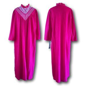Vintage Flannel Robe Pink High Neck Dressing Gown